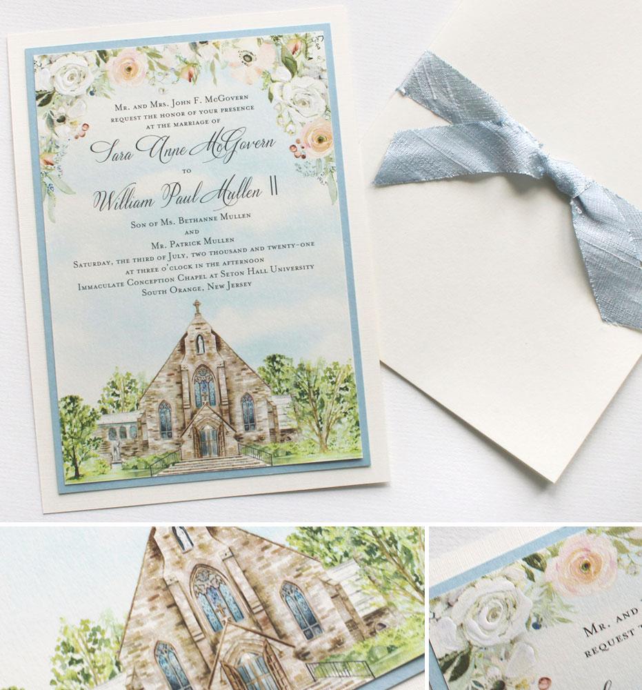 Custom Watercolor Church Illustration Wedding Invitations