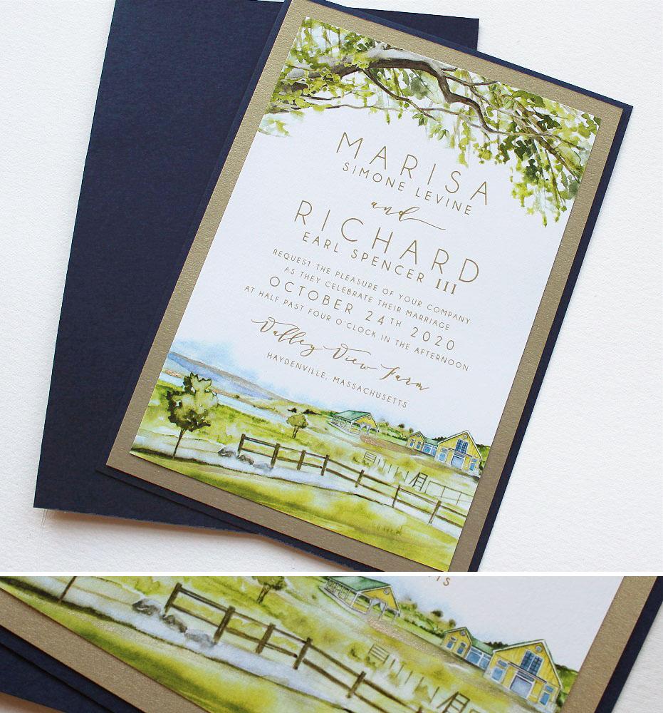 Rustic Watercolor Farm Venue Wedding Invitations