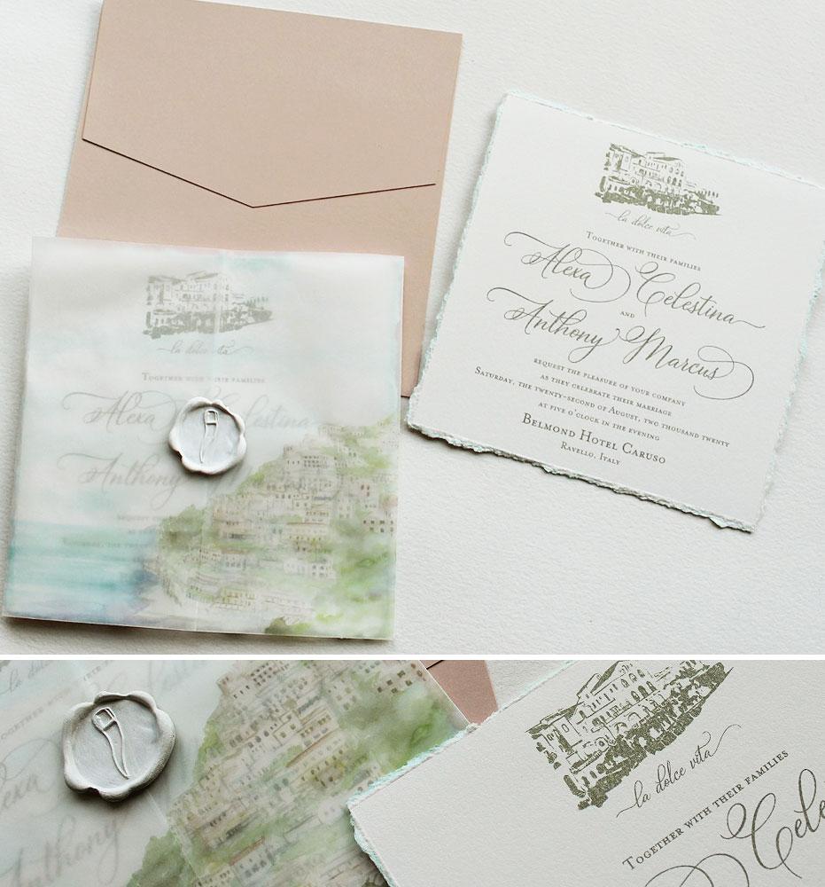 Soft Watercolor Belmond Hotel Caruso Wedding Invitations