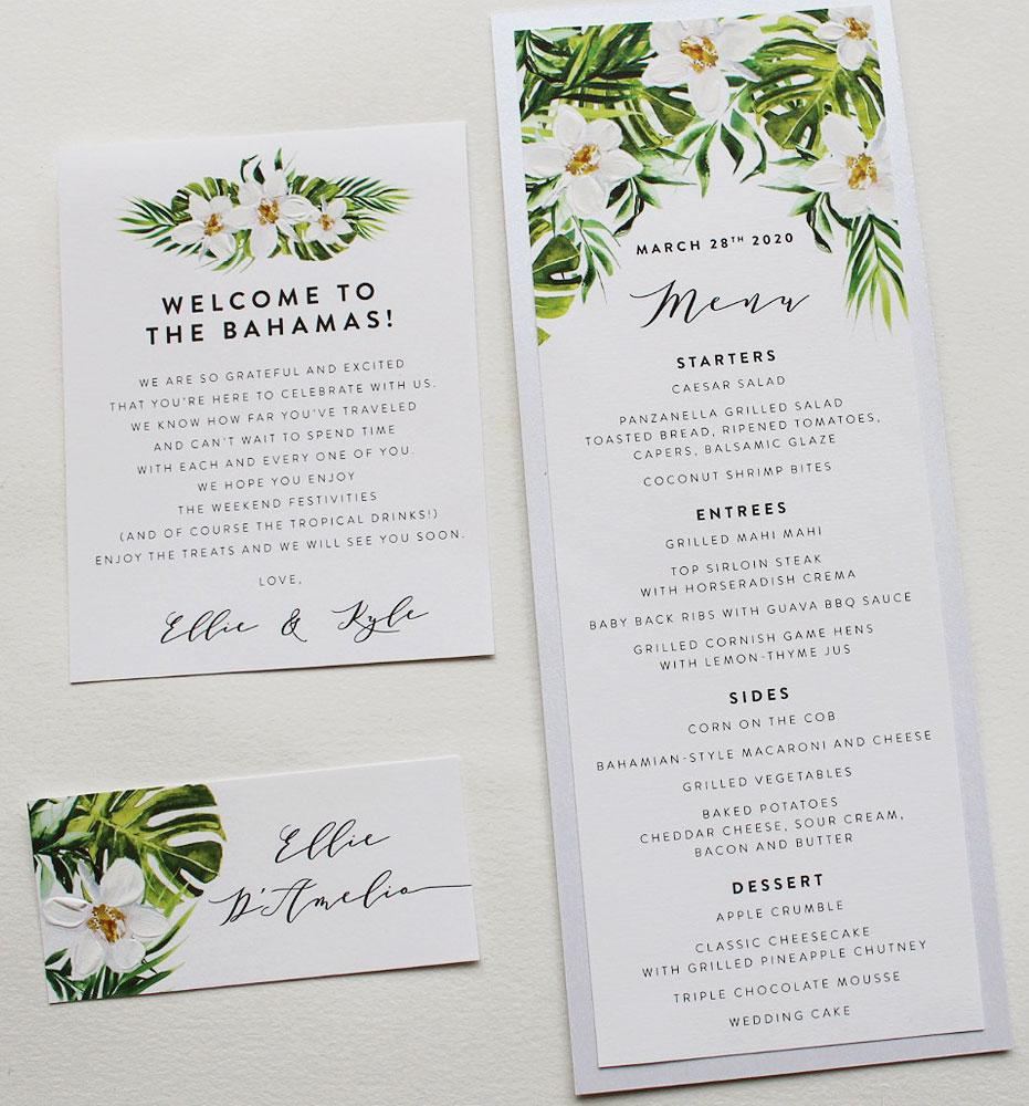 Tropical Wedding Menus