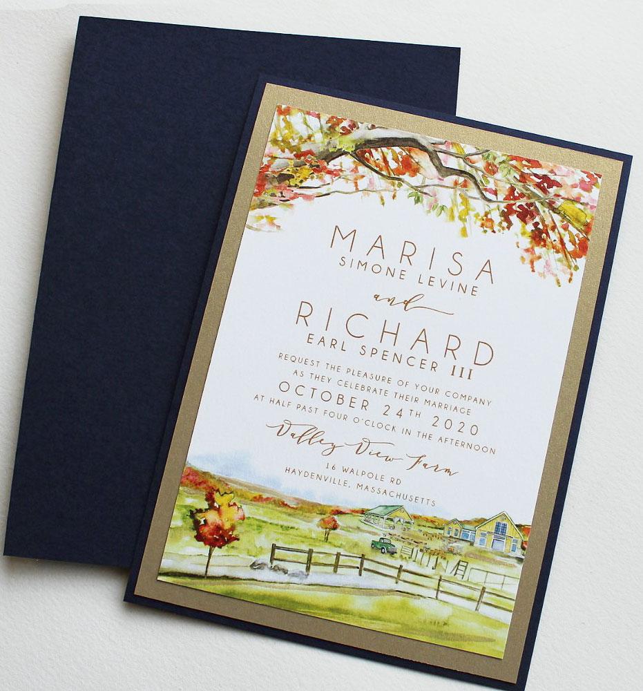 Watercolor Autumn Wedding Invitations