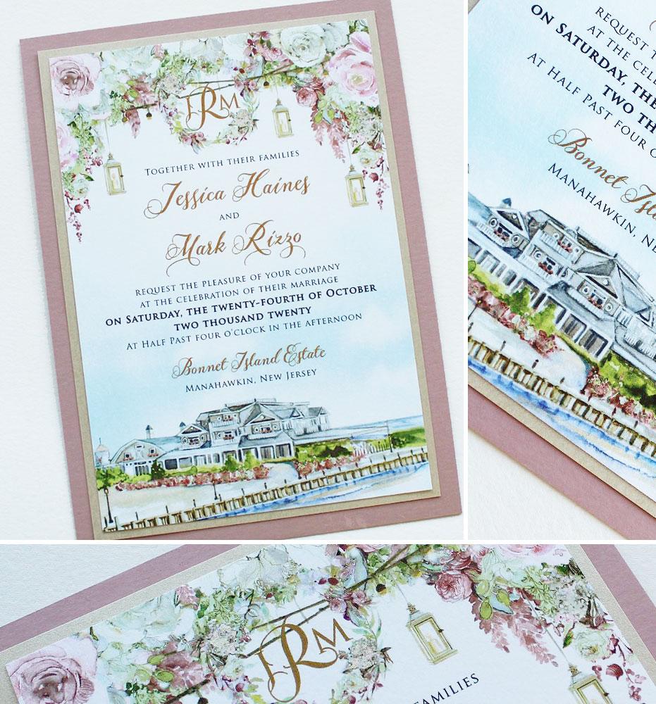 Watercolor Bonnet Island Estate Wedding Invitations