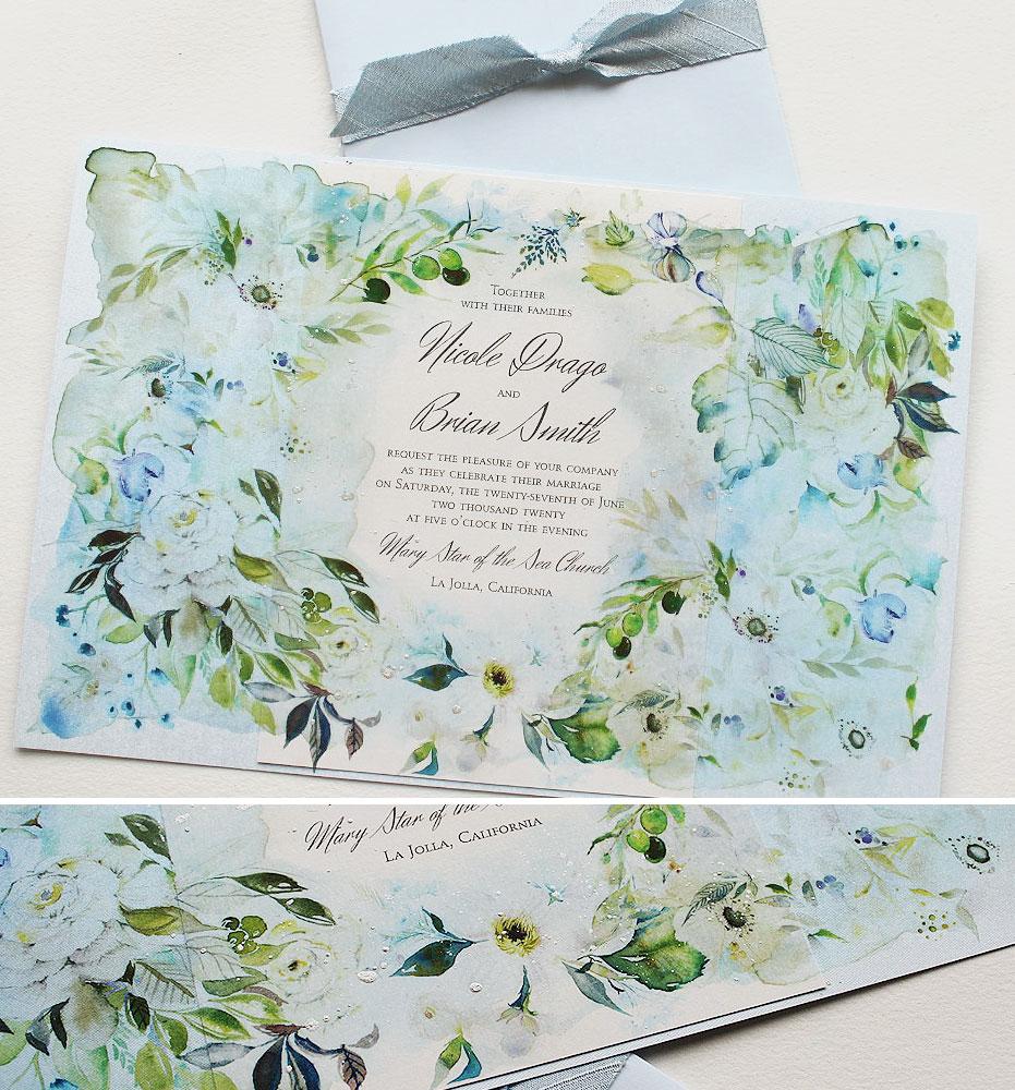 Watercolor Botanical Wedding Invitations