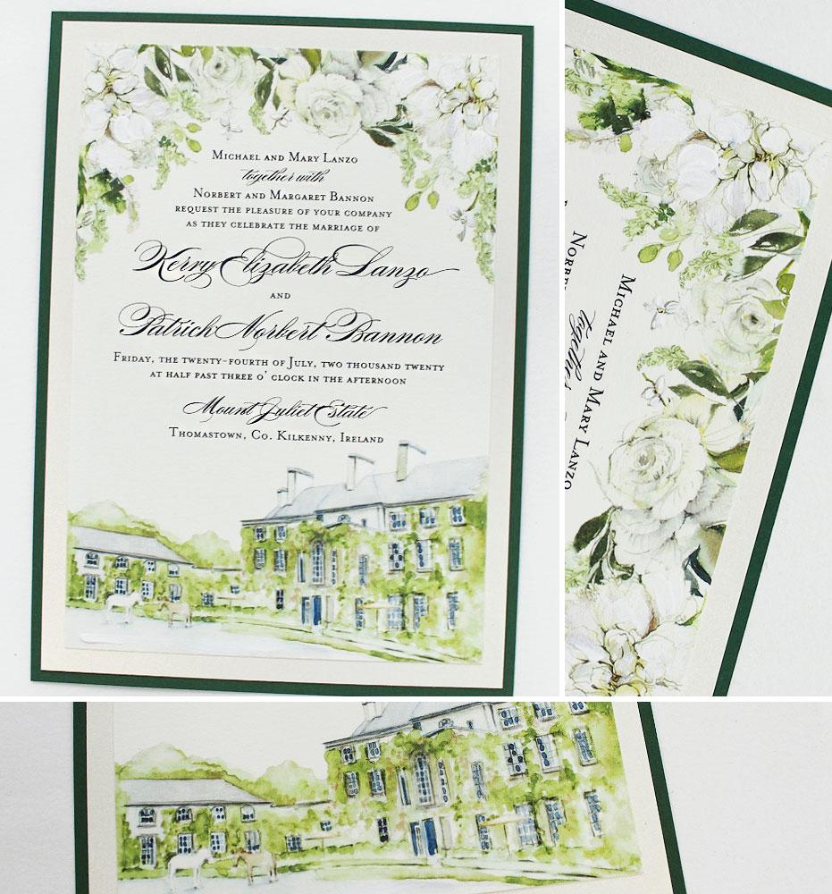 Watercolor Floral and Custom Venue Illustration Wedding Invitations