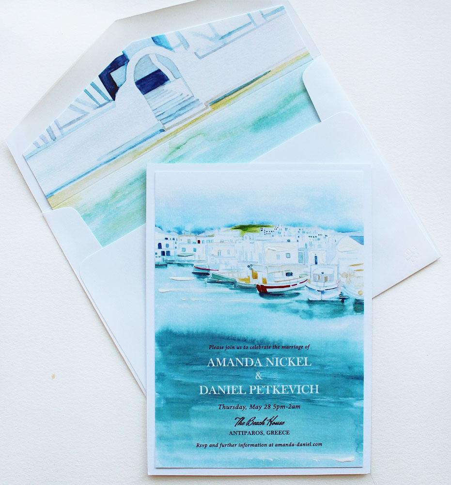 Watercolor Greece Wedding Invitations