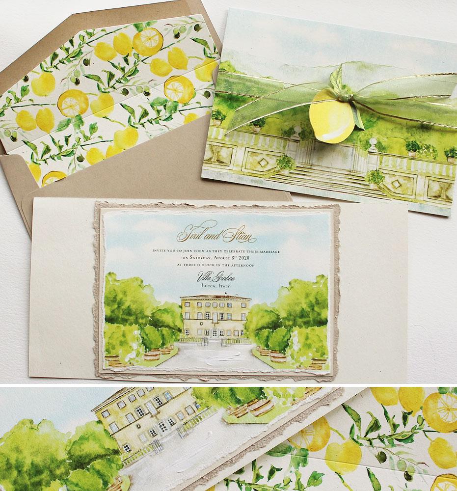 Watercolor Villa Grabau Venue Illustration Wedding Invitations