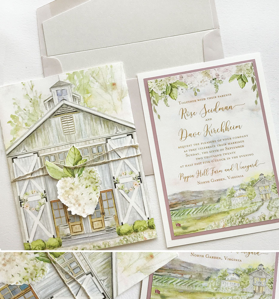 Watercolor Vineyard Landscape Wedding Invitations
