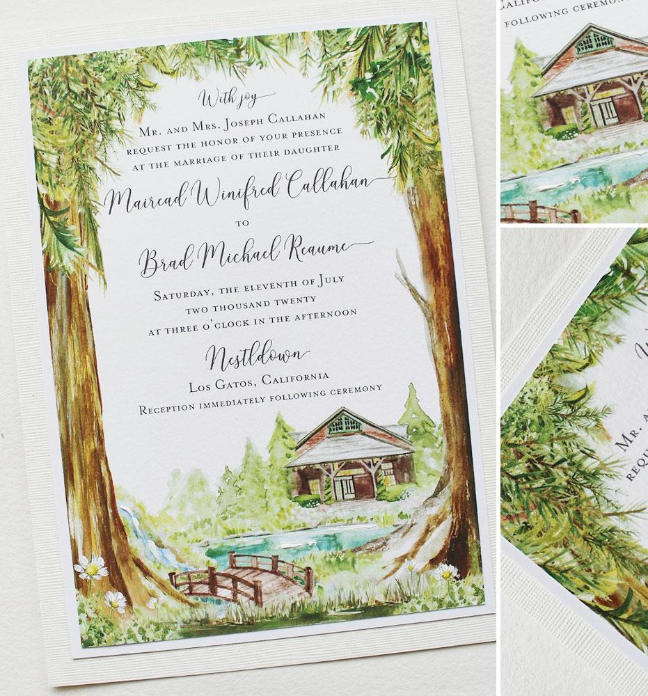 Watercolor Woodland Venue Wedding Invitations