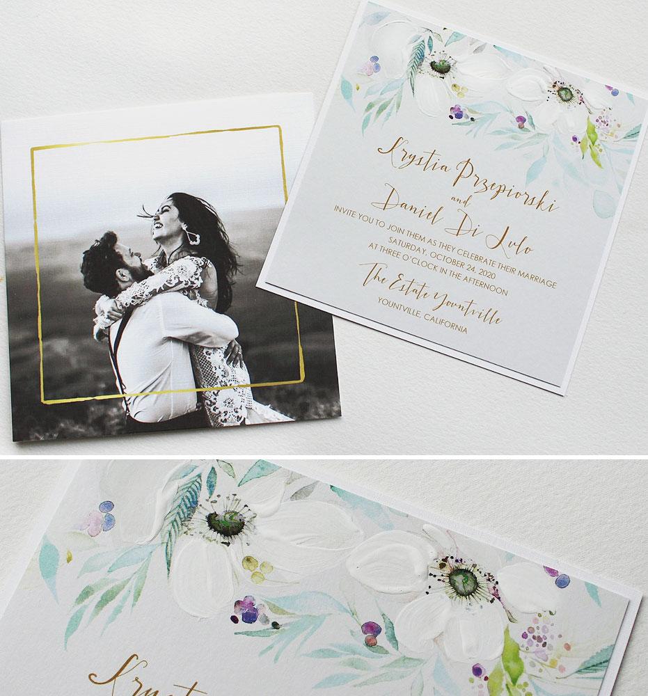 White Anemone Wedding Invitations