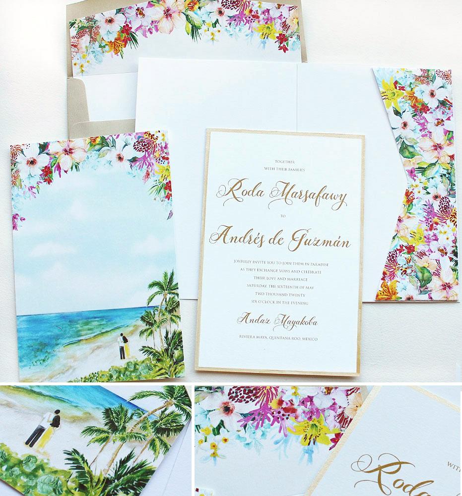 Bright Tropical Floral Wedding Invitations