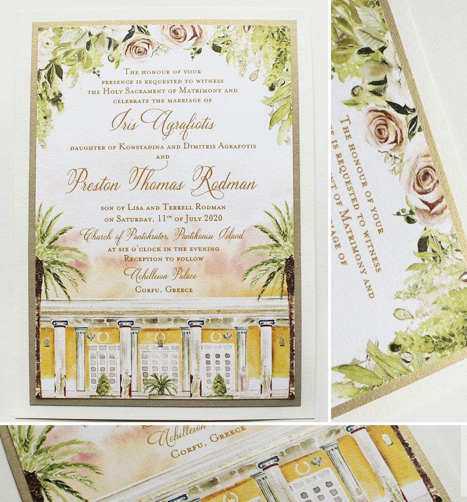 Corfu Greece Watercolor Wedding Invitations