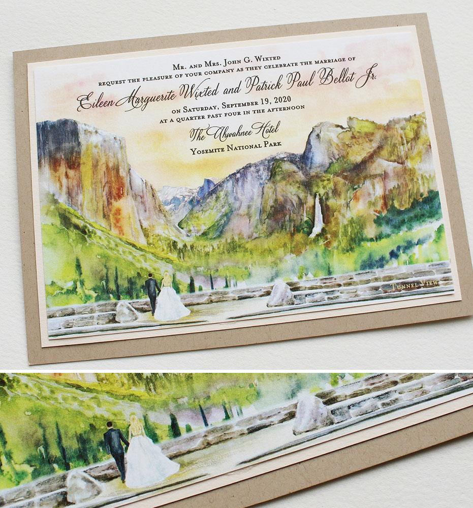 Hand Painted Yosemite Wedding Invitations