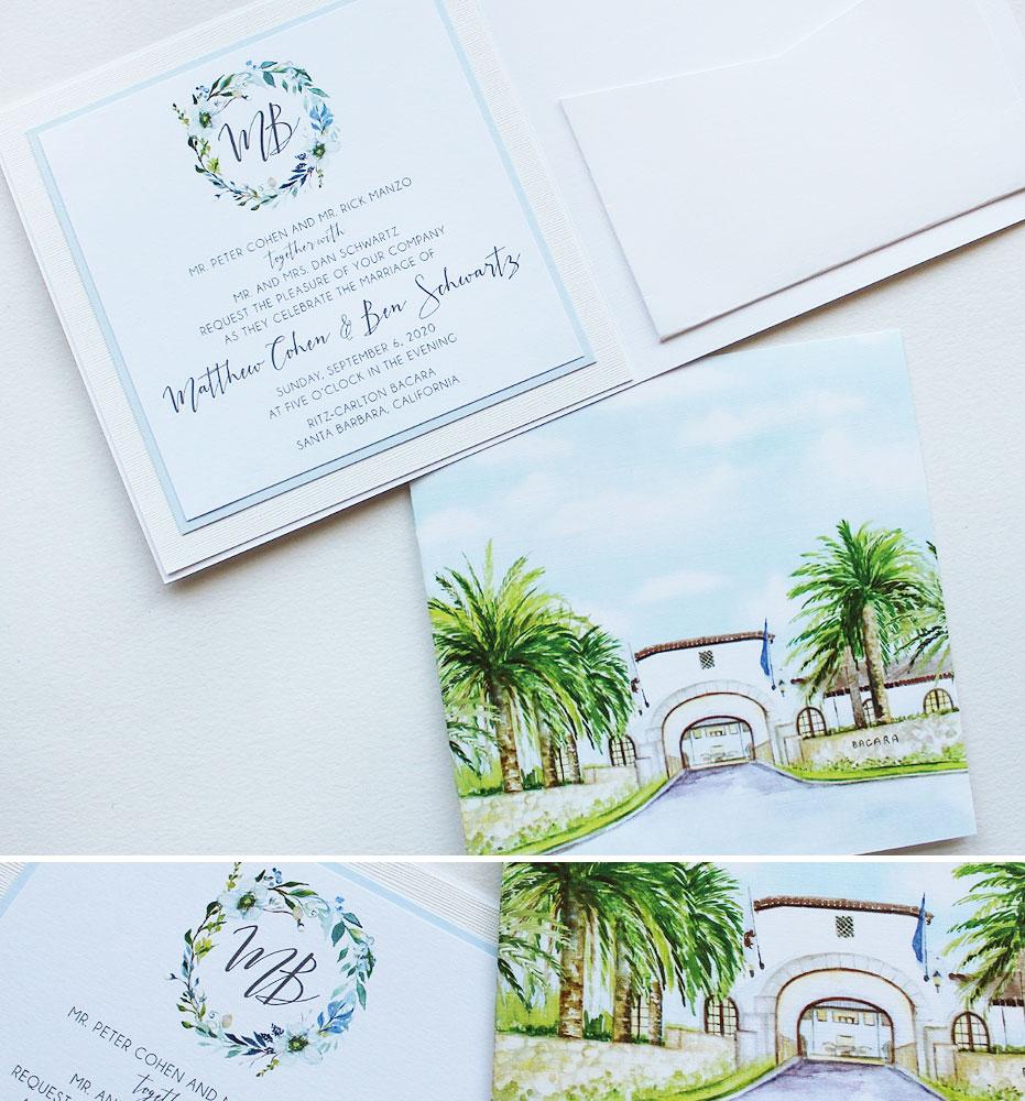 Santa Barbara California Wedding Invitations