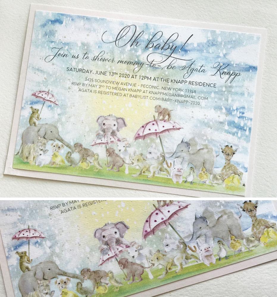 Watercolor Animal Baby Shower Invitation