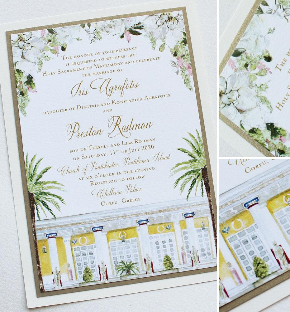Watercolor Corfu Greece Wedding Invitations