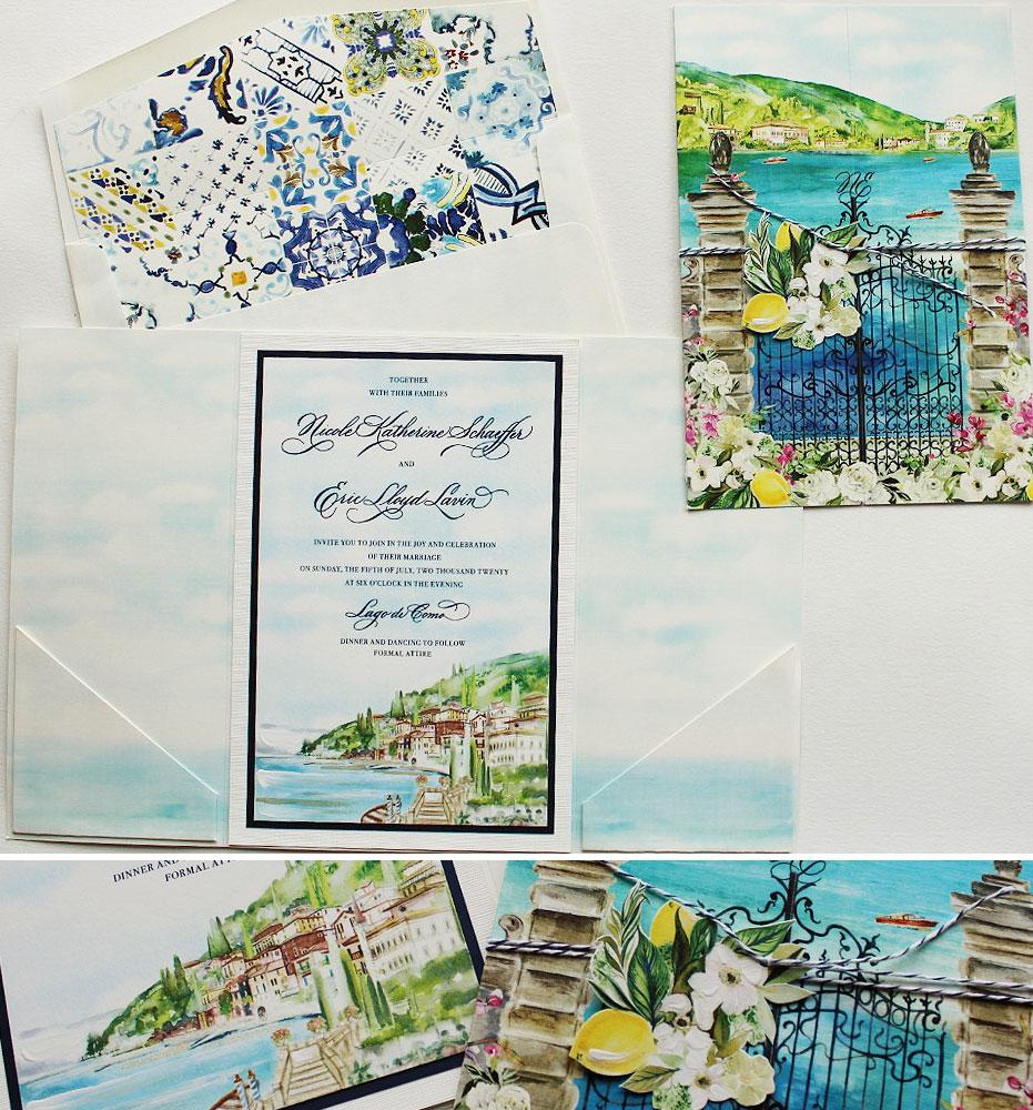 Watercolor Lake Como Landscape Wedding Invitations