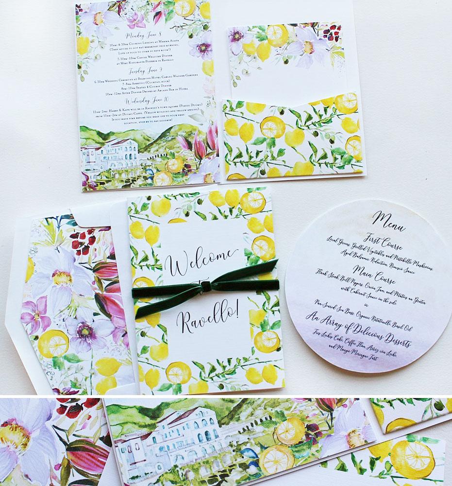 Watercolor Lemon Wedding Itinerary