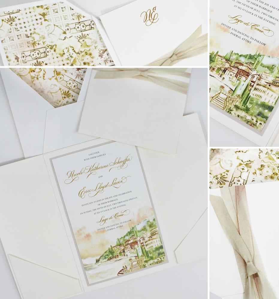 Watercolor Lake Como Wedding Stationery
