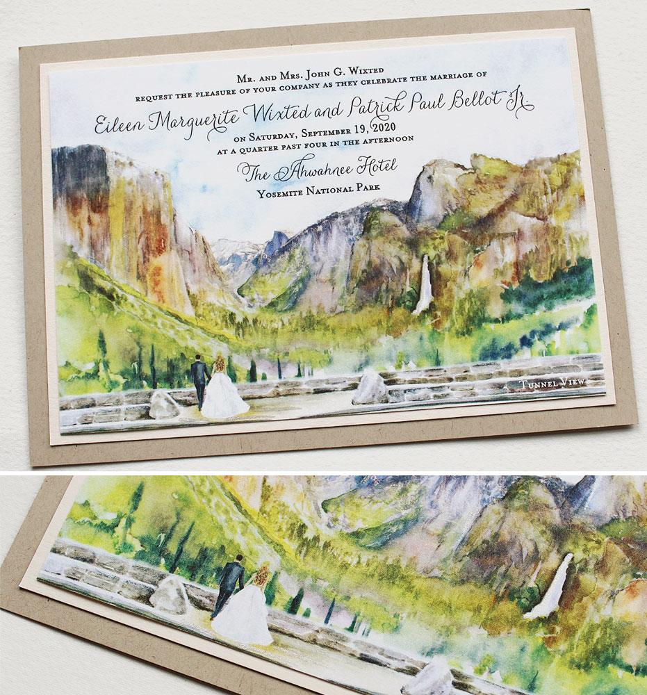Watercolor Yosemite Landscape Wedding Invitations