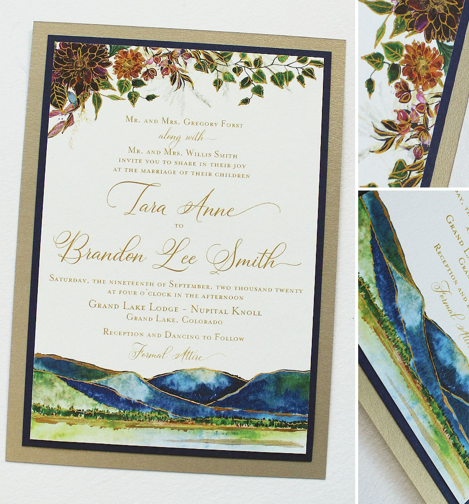 Hand Painted Colorado Wedding Invitations