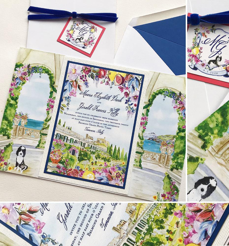 Taormina Sicily Wedding Invitations