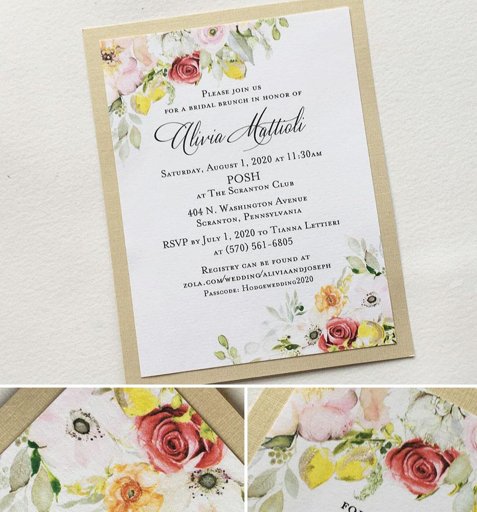 Watercolor Floral Bridal Shower Invitations