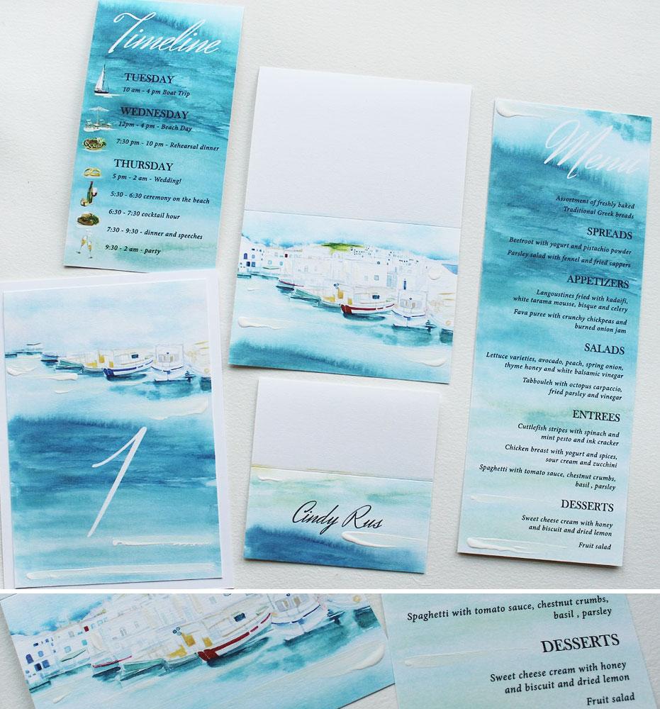 Watercolor Greece Destination Wedding Stationery