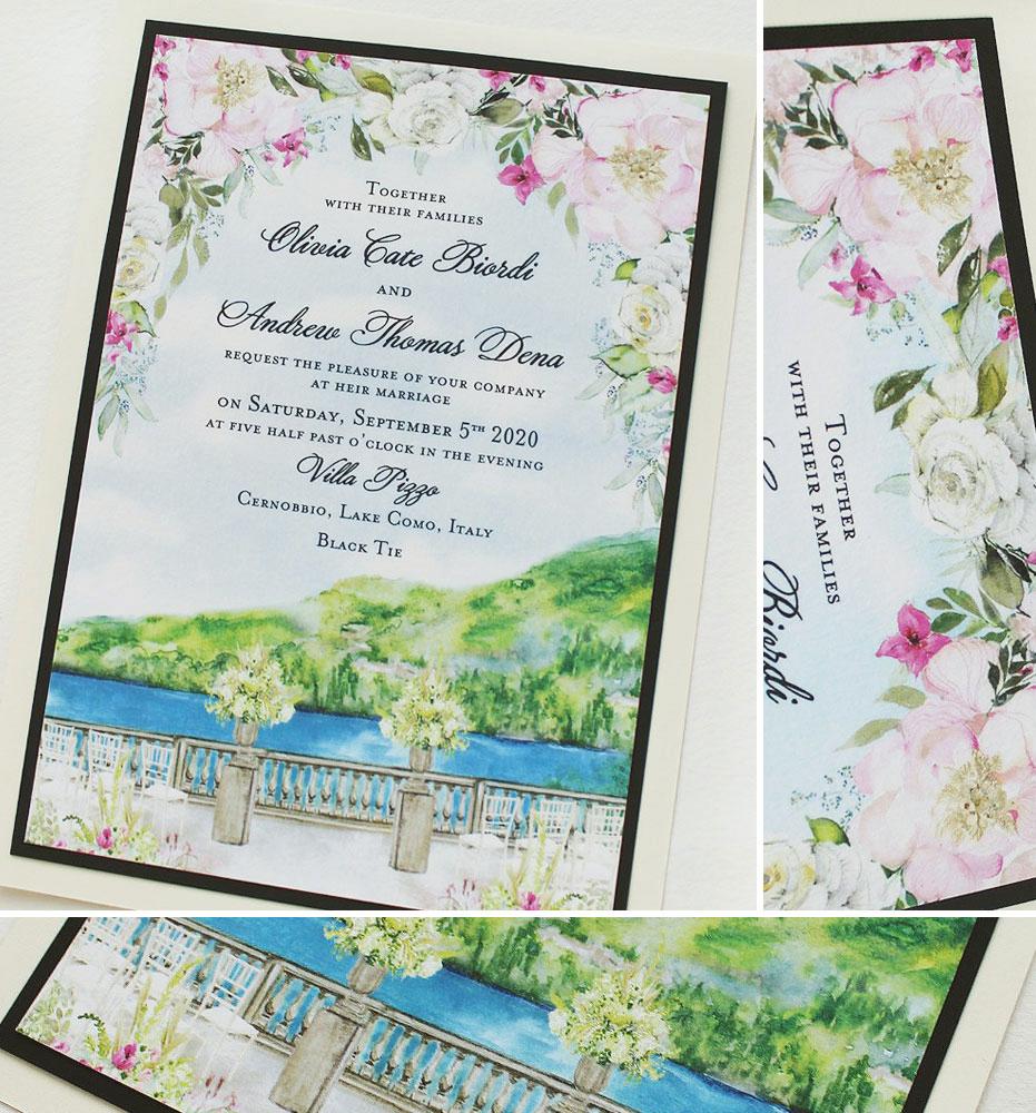 Watercolor Villa Pizzo Wedding Invitations