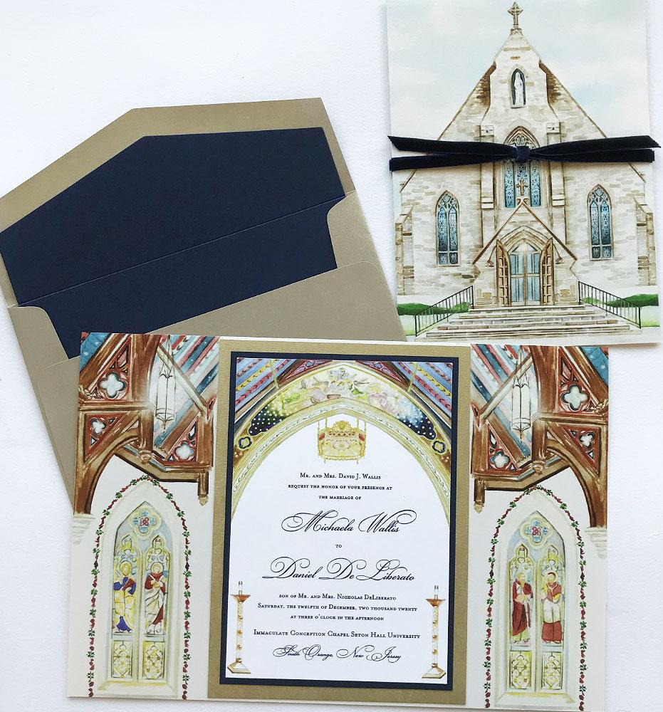 Custom Illustrated Church Wedding Invitations