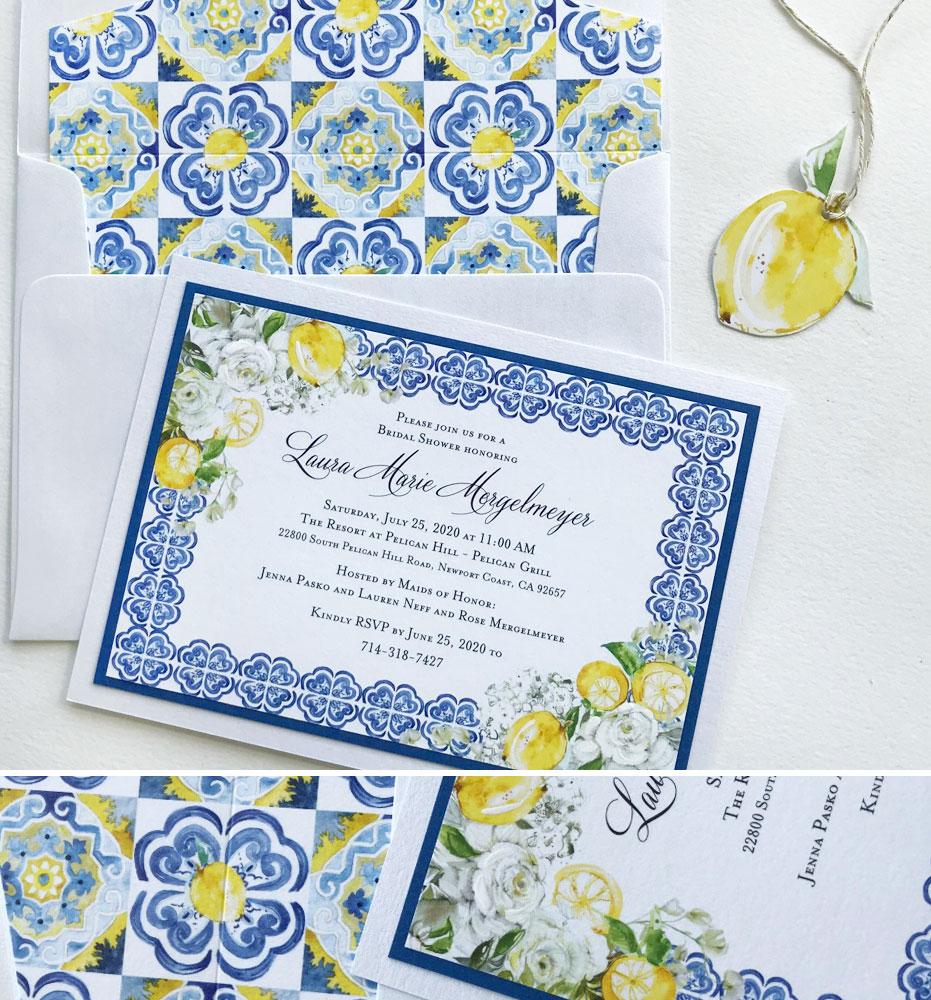 Lemon Bridal Shower Invitations