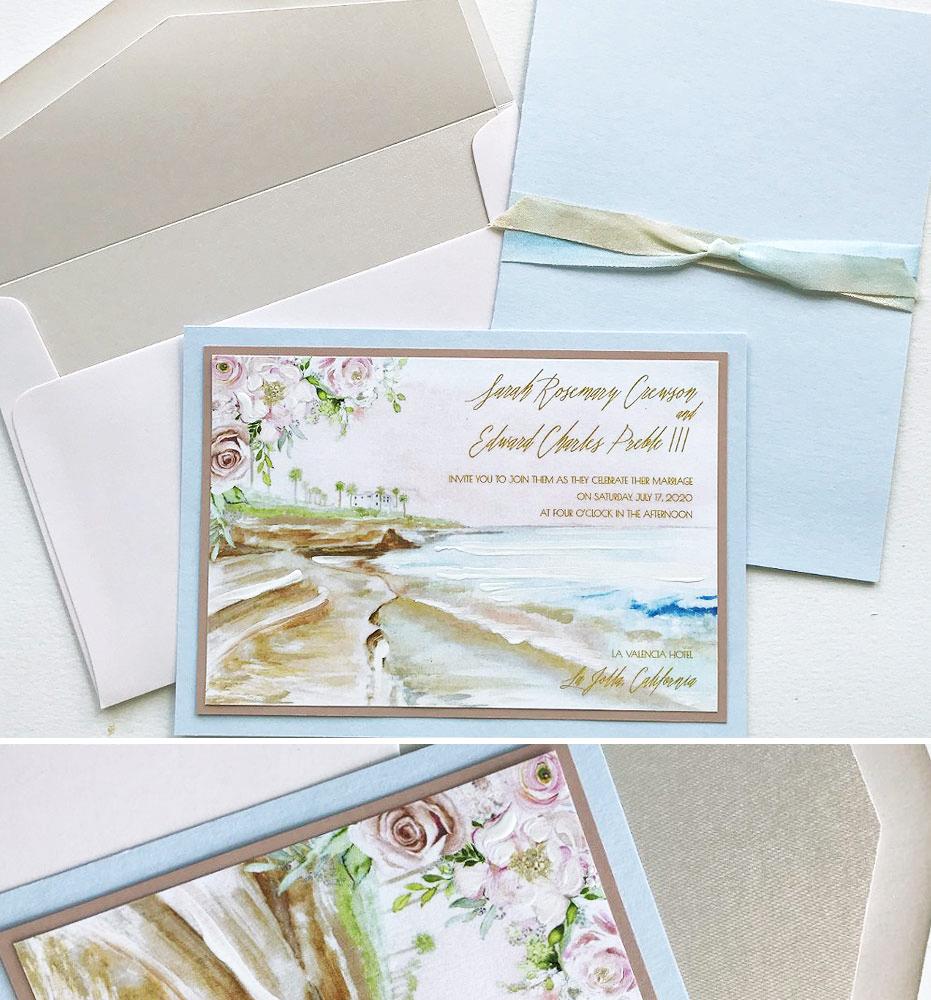 Watercolor Ocean Wedding Invitations