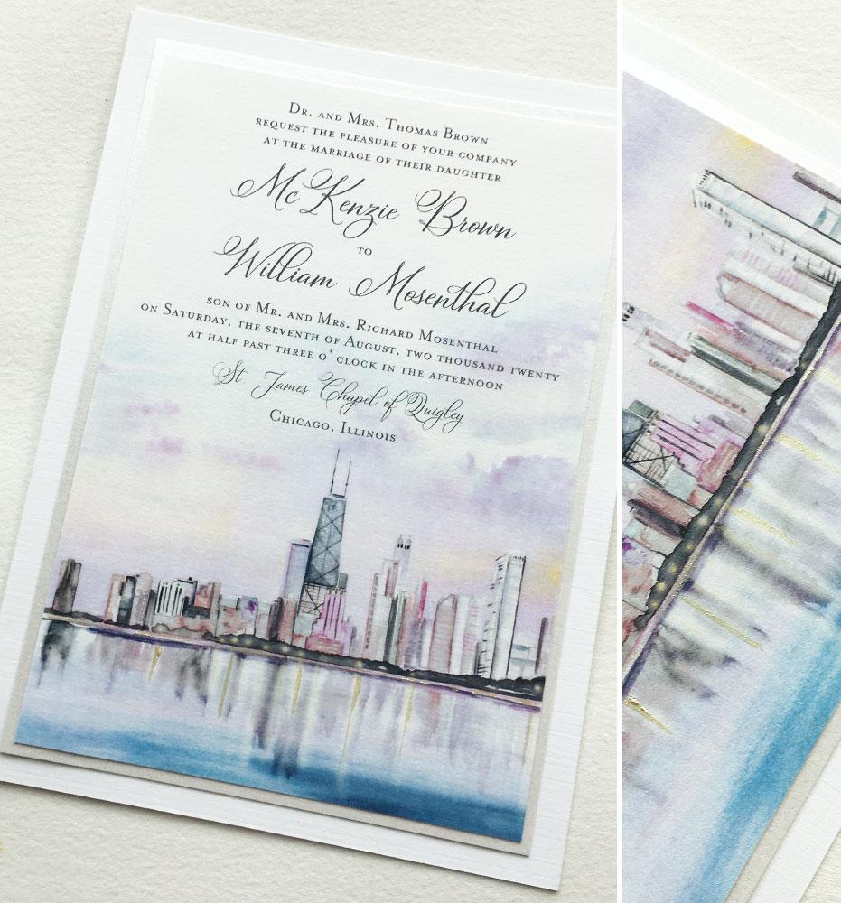 Custom Illustrated Chicago Wedding Invitations