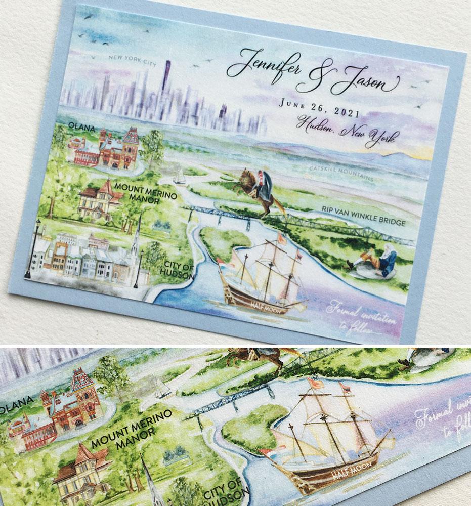 Custom Illustrated Hudson Valley Wedding Save the Dates