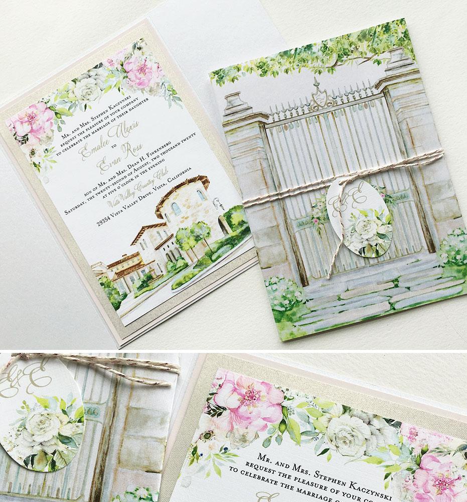 Custom Illustrated Watercolor Wedding Invitations