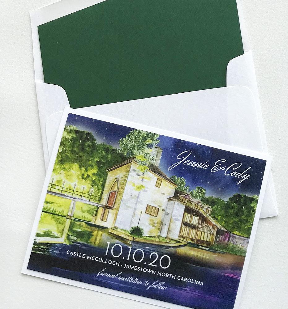 Custom Illustrated Wedding Save the Dates