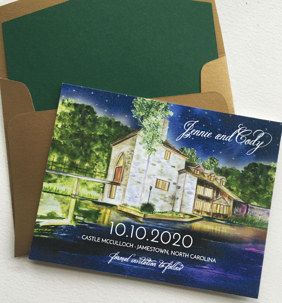 Custom Venue Illustration Wedding Save the Dates