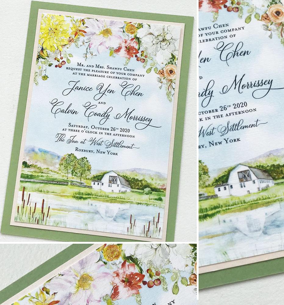 Custom Venue Illustration Wedding Stationery