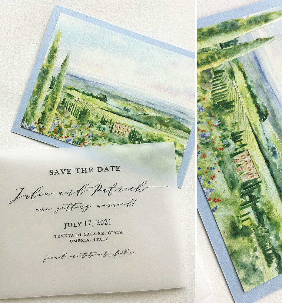 Italian Landscape Watercolor Save the Dates