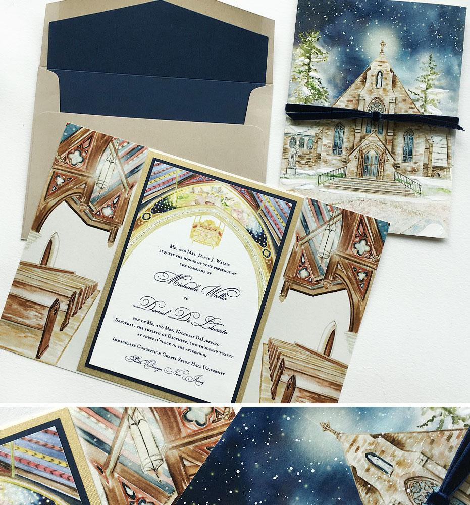 Watercolor Church Illustration Wedding Invitations