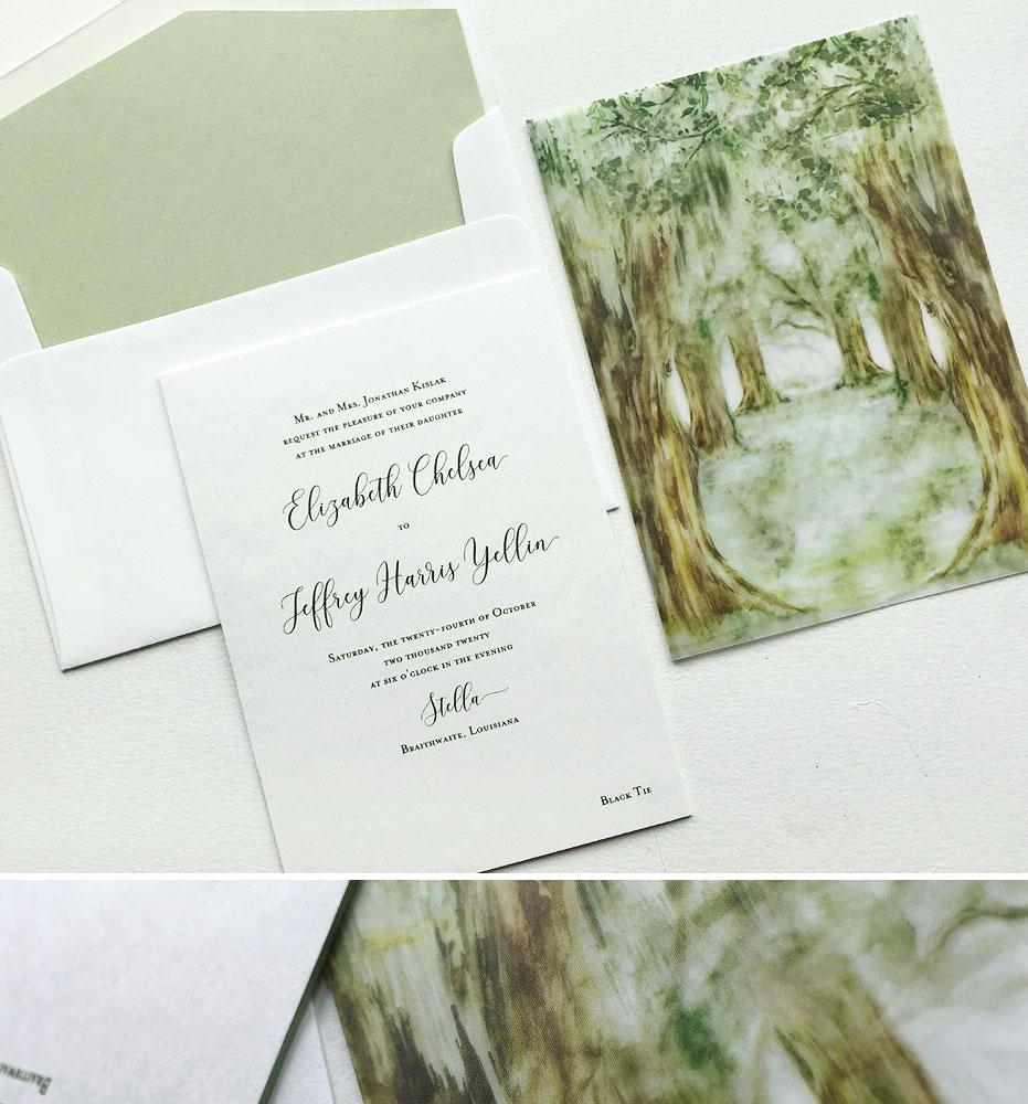 Watercolor Louisiana Wedding Invitations