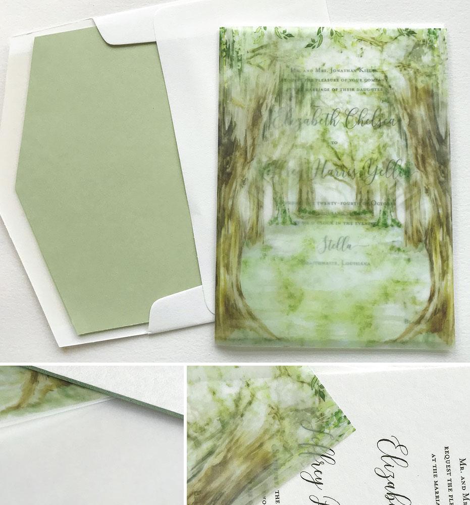 Watercolor Oak Tree Wedding Invitations