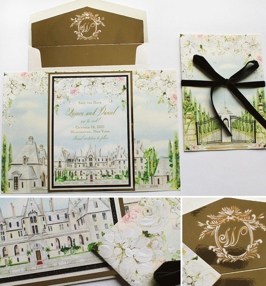 Custom Venue Illustration Wedding Save the Date