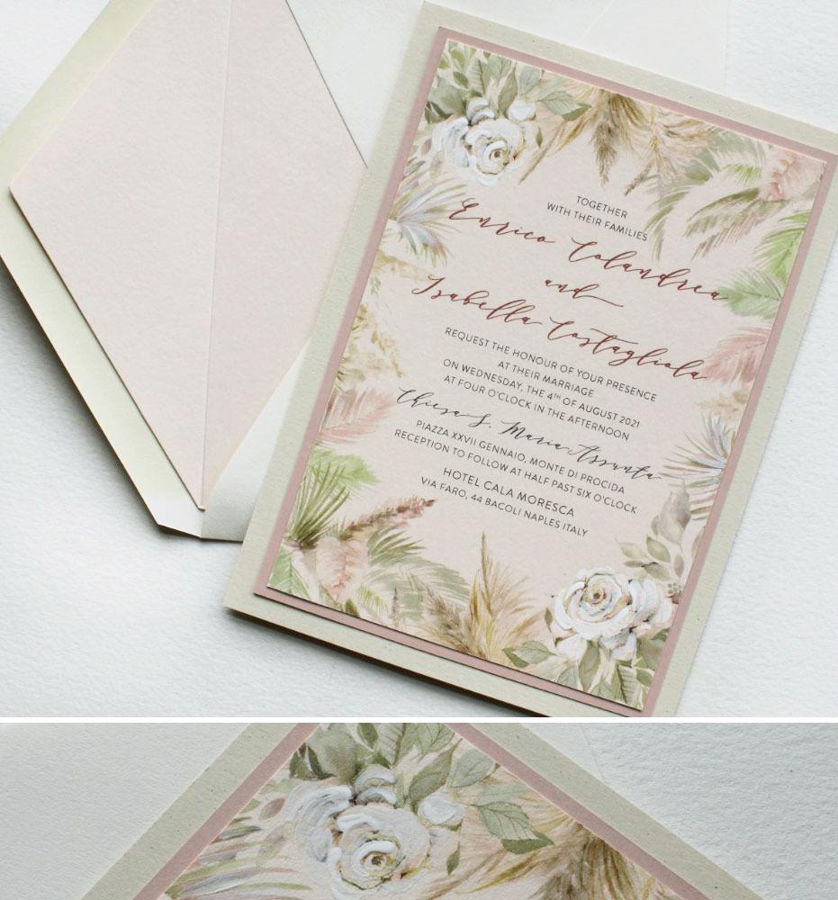 Elegant Modern Palm Wedding Invitations