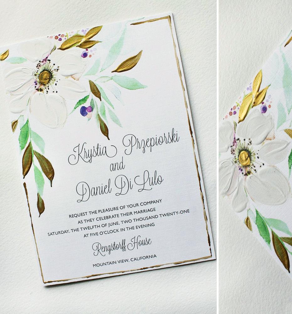 Hand Painted Anemone Wedding Invitations