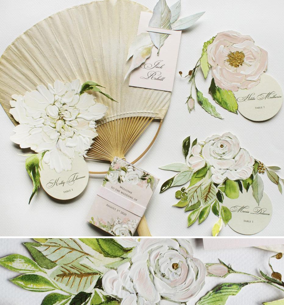 Hand Painted Custom Floral Wedding Escort Cards
