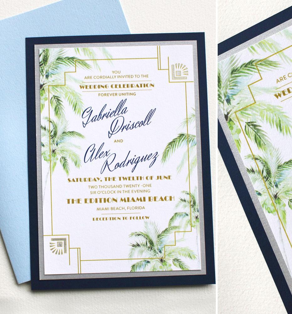Miami Florida Watercolor Wedding Invitations