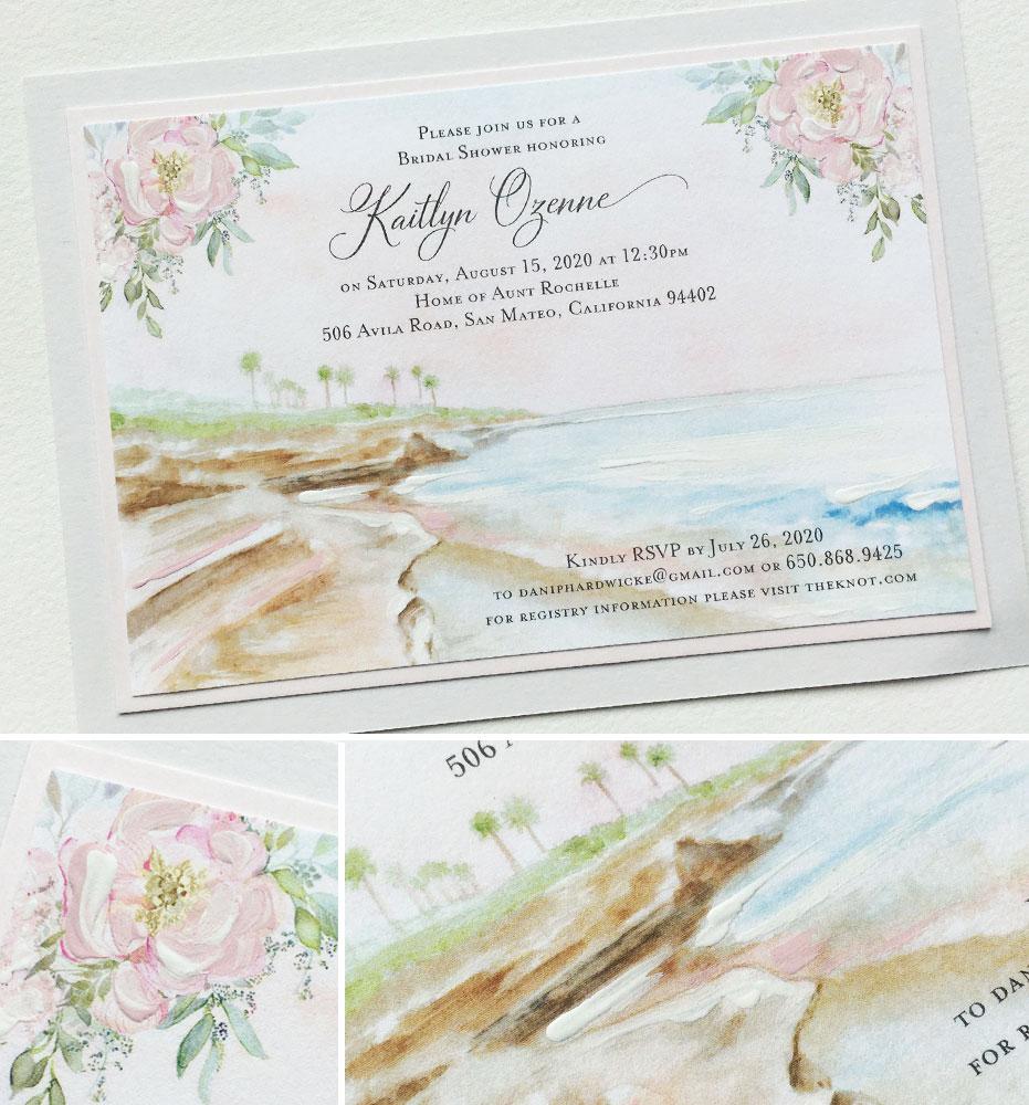Soft Watercolor Beach Landscape Bridal Shower Invitation