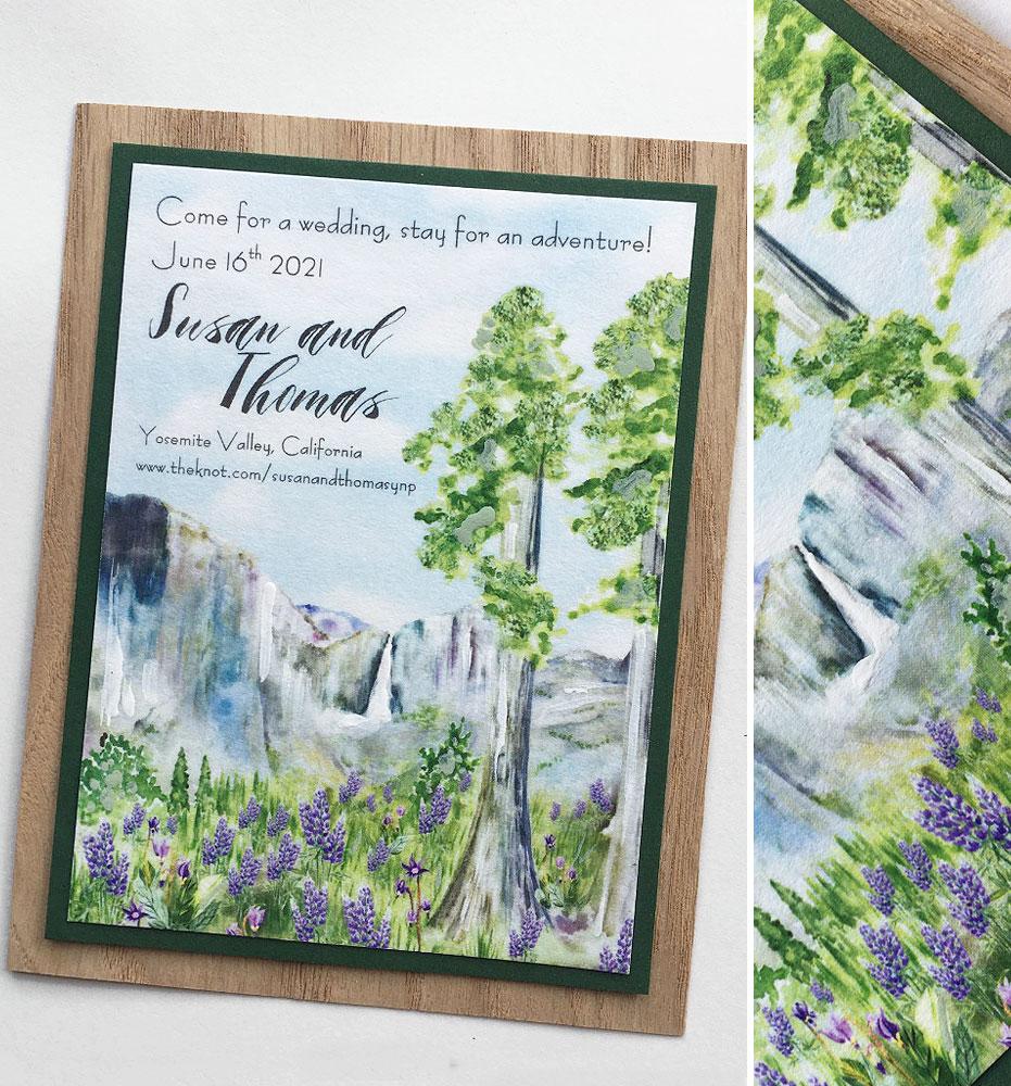 Watercolor Yosemite Wedding Save the Date