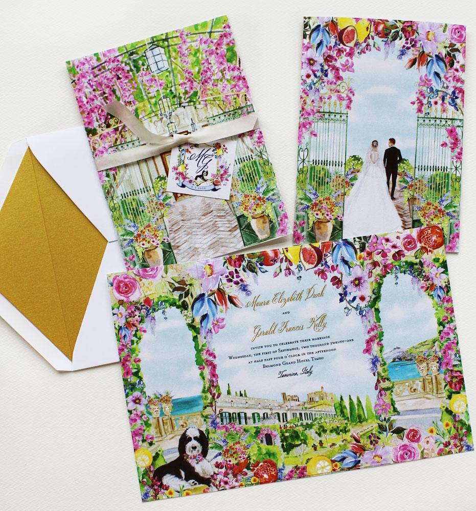 Bright Watercolor Floral Belmond Grand Hotel Timeo Wedding Invitations