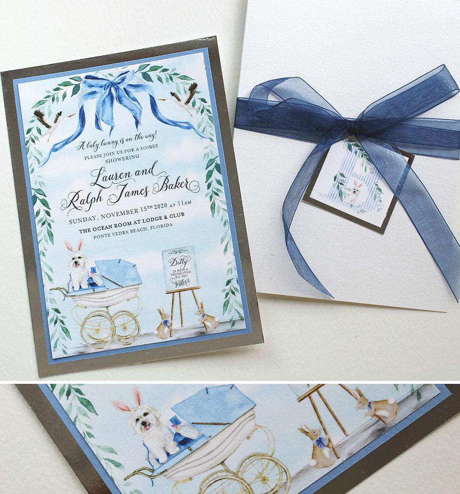 Custom Illustrated Baby Shower Invitation